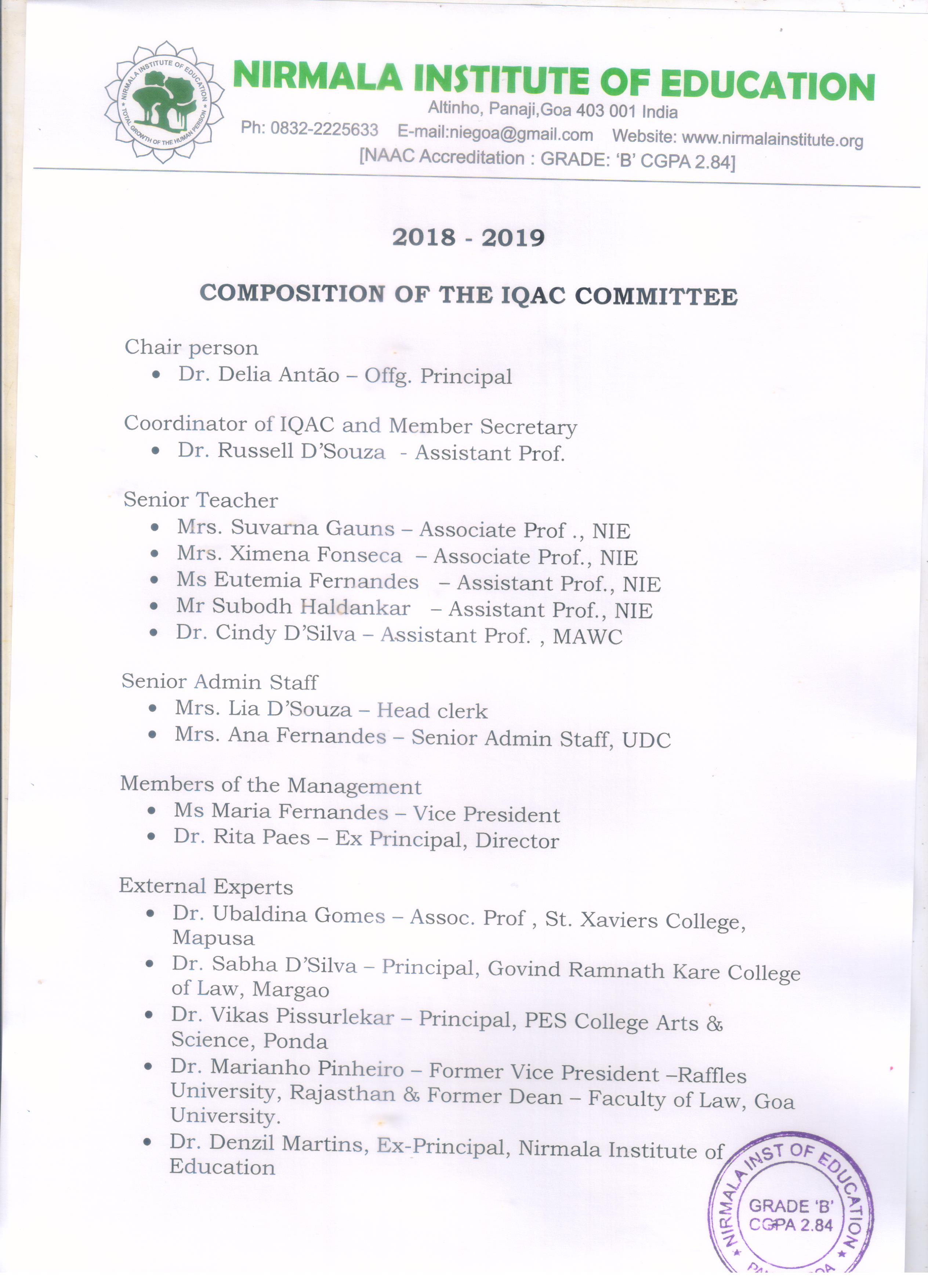 IQAC Composition 2018 - 19